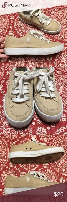 """Ralph Lauren Polo khaki canvas sneakers Khaki Polo sneakers. Some light wear/a tad dirty but nothing major! Canvas. The right back heel """"POLO"""" is slightly chipped- See pic 5. Polo by Ralph Lauren Shoes"""