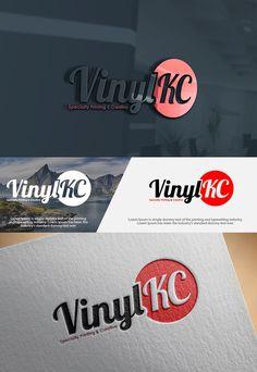 VinylKC Logo 2 Color - Bold Script Font, Old Sc... Playful, Masculine Logo Design by mibrahim41504048