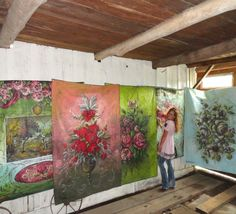 In the barn with some of my large scale tarp paintings