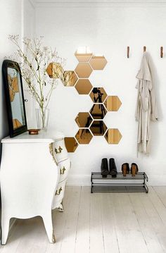 hexagonal mirror decals