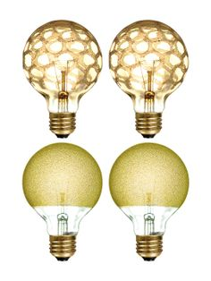 Crystal Globe Bulbs (Set of by Bulbrite at Gilt Unique Lighting, Vintage Lighting, Art Deco Room, Vintage Light Bulbs, Can Lights, Home Furniture, Globe, Ceiling Lights, Crystals