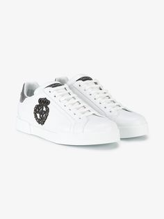 a39b1bb1a DOLCE   GABBANA PORTOFINO CREST APPLIQUÉ NEAKERS.  dolcegabbana  shoes   synthetic- carbon