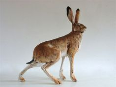 Nicola Theakston sculpture - I have a (different) hare and a badger, both treasured works of art. Rabbit Sculpture, Sculpture Clay, Ceramic Sculptures, Ceramic Animals, Clay Animals, Ceramic Art, Bunny Art, Antony Gormley, Indian Artist