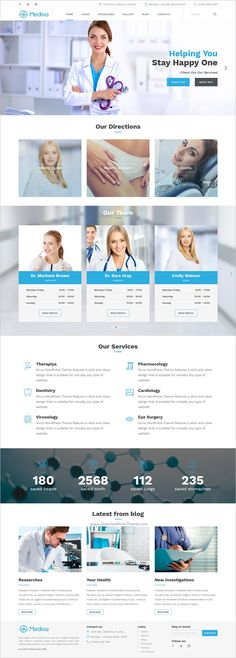 Medina is the beautiful 4in1 #WordPress theme for private #clinics, #plastic-surgery, dental clinic and personal doctors websites download now➩ https://themeforest.net/item/medina-wordpress-medical-theme/19068097?ref=Datasata