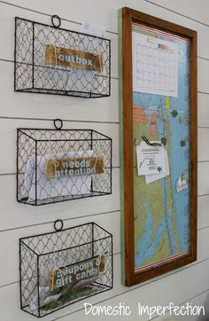 Hang wire baskets to simplify sorting your mail.