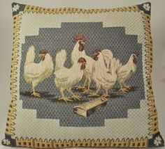 Vintage Tapestry Hungry Chickens Decorative Pillow