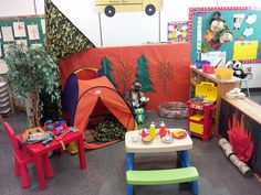 Camping is perfect dramatic play for the children to engage and interact (develop social skills) with other children. Camping Dramatic Play, Dramatic Play Themes, Dramatic Play Area, Dramatic Play Centers, Preschool Centers, Preschool Activities, Play Corner, Early Years Classroom, Role Play Areas