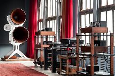 Oswalds Mill Audio has opened what has to be the most strikingly dramatic architecturally spectacular listening environment this planet has ever seen. They are located in a restored loft building in the Dumbo section of Brooklyn. The extraordinaty beauty of these audio systems is celebrated and treasured not hidden in a basement or built into a wall. This is hi-fi as it should be. And...wow!