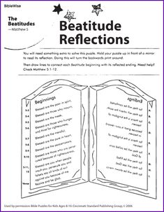 Connect Jesus& Beatitudes with it& Ending - Kids Korner - BibleWise Religion Activities, Bible Activities, Church Activities, Catholic Kids, Kids Church, Church Ideas, Youth Bible Study, Bible For Kids, Sunday School Lessons