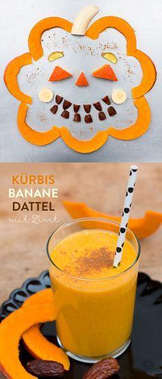 Kürbis-Smoothie mit Zimt, gesunder Halloween-Smoothie, Pumpkin Spiced Smoothie for Halloween #Smoothiemontag