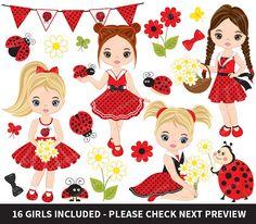 Ladybug Clipart, Vector Ladybird Clipart, Ladybug Girls Clipart, Vector Little Girls Clipart #thecreativemill