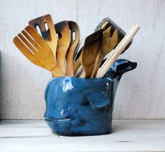 Ceramic utensil holder whale art kitchen organizer by claylicious Ceramic Utensil Holder, Kitchen Utensil Holder, Kitchen Utensils, Kitchen Gadgets, Burlap Silverware Holder, Nautical Kitchen, Kitchen Decor, Kitchen Tips, Kitchen Ideas