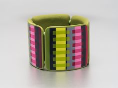 Unbelievable! She uses quilt patterns! Check out her Flickr page, so beautiful    Bracelet Transparency Stripes https://www.flickr.com/photos/st-art-clay/ Switzerland's Sandra Traschel