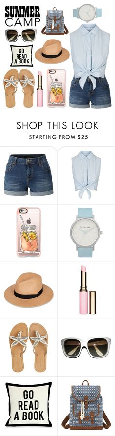 """Summer Camp"" by violinistkitty ❤ liked on Polyvore featuring LE3NO, Topshop, Casetify, The Horse, rag & bone, Clarins, ASPIGA, Emmanuelle Khanh, One Bella Casa and Bandana"