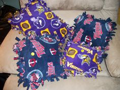 Vikings and MN Twins Tie Pillows