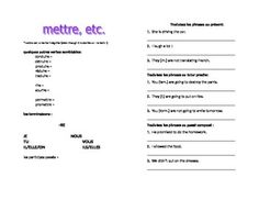 This is an page to introduce METTRE and similar verbs and to give students practice in the three tenses they know by D'Accord 1 Unit 6B: présent, passé composé, futur proche.