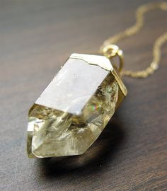 Rutilated Lemon Quartz Necklace 14k Gold by #friedasophie - http://www.friedasophie.com