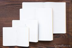 A Goulet Pens exclusive! This side stapled notebook features 32 sheets (64 pages) of white 68gsm fountain pen friendly 7mm lined Tomoe River paper, a graphite black 150g kraft paper cover printed with soy ink, rounded corners, and measures 14.8cm x 21cm (approximately 5.83in x 8.27in, or standard A5 size).