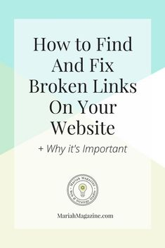Having broken links on your website can frustrate your website visitors and negatively impacts your SEO. So how do you find AND fix the broken links on your website? Business Website, Business Tips, Online Business, Business Planning, Creative Business, Business Entrepreneur, Inbound Marketing, Internet Marketing, Online Marketing