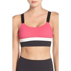 Women's Kate Spade New York & Beyond Yoga Colorblock Sports Bra ($88) ❤ liked on Polyvore featuring activewear, sports bras, beyond yoga and red sports bra
