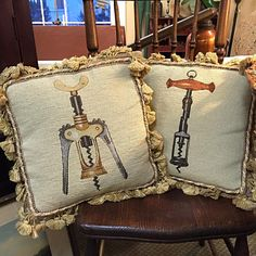 """Throw pillows with a message. Too subtle? #wine #winetasting #winery #mancave #peddlersvillage #cookgardenerantiques"""