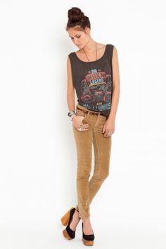 Velvet Skinny Jeans - Camel - NASTY GAL - StyleSays