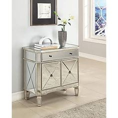 Powell Mirrored Console With 1 Drawer, 2 Door, Gray