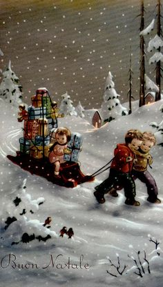 Vintage Christmas Card: Boys pulling little girl on sled full of gifts
