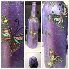 Decoupage wine bottles. All you need is metallic paint, glitter modge podge and a picture you like (I have a thing for butterflies and dragonflies) and voila! Easy!