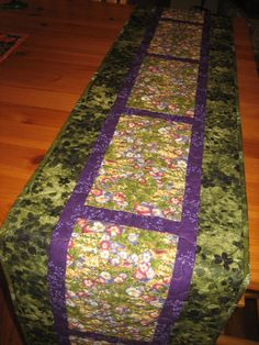Quilted Table Runner Purple Pink Flowers Green by TahoeQuilts