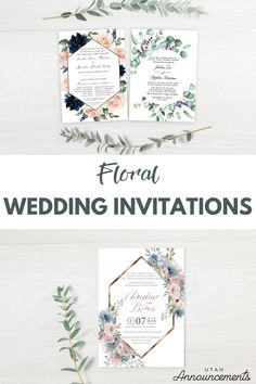 These beautiful floral inspired wedding invitations are perfect to set a romantic and nostalgic mood for your wedding. Match the design to your wedding theme and colors and you'll have an elegantly memorable wedding. #weddingplanning #weddinginspo #floralwedding #floral #weddinginvitation #weddingtrends #greenerywedding #bohowedding
