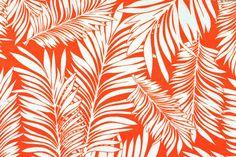 Outdoor-Stoff Spain Lounge - Palmblätter - Orange/Weiß
