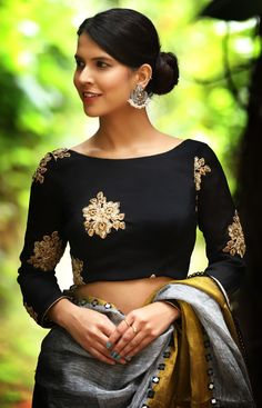 Buy Designer Blouses online, Custom Design Blouses, Ready Made Blouses, Saree Blouse patterns at our online shop House of Blouse from India. Blouse Back Neck Designs, Black Blouse Designs, Sari Blouse Designs, Saree Blouse Patterns, Neckline Designs, Blouse Styles, Dress Patterns, Black Saree Blouse, Lehenga Blouse