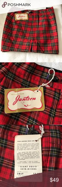 "Vintage Jantzen Swimming Trunks ( circa 1950 ) Absolutely Authentic Fantastic Jantzen of Portland, Oregon. Gorgeous red, green, gold tightly woven plaid fabric. Men's (I think) swimming trunks. New old stock with original tags. Never used . Lined with side button and zipper. Size 32. Waist measures 14 1/2"" without stretching elastic back and hips 19"". Buy a piece of history. janzen Swim Swim Trunks"