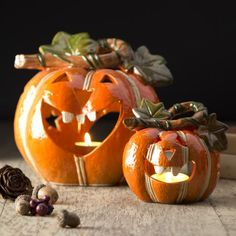 Gisela Graham Set of Two Ceramic Pumpkin Lanterns - £24.00 - A great range of Halloween gifts and homewares from The Contemporary Home Online Shop
