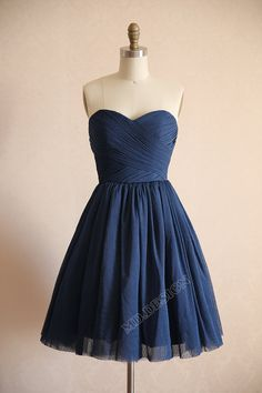 Vintage Navy Blue Polka Dots Tulle Wedding Dress Bridesmaid Dress Prom Dress Strapless Sweetheart Knee Short Dress on Etsy, $115.34 CAD