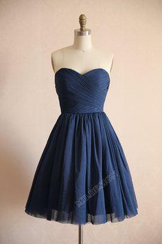 Vintage Navy Blue Polka Dots Tulle Wedding Dress Bridesmaid Dress Prom Dress Strapless Sweetheart Knee Short Dress on Etsy, $115.34 CAD