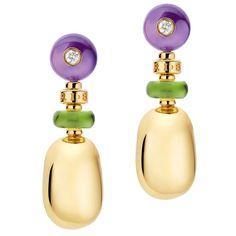 Bulgari yellow gold, peridot, amethyst and diamond Mediterranean Eden earrings