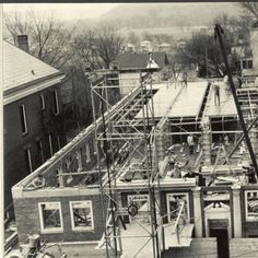 Howard Hall addition under construction, looking east, 1938 :: Ohio University Archives