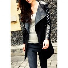 $22.48 Fashionable Style Worsted Turn-Down Collar Color Block Long Sleeves Coat For Women