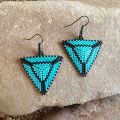 Turquoise and Black Triangle Beaded Earrings от DoubleACreations