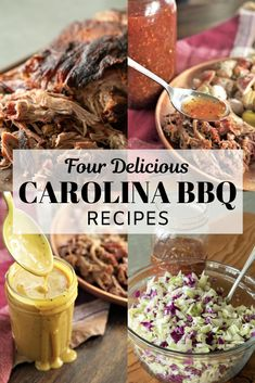 The Carolinas are known for their amazing and tangy BBQ, and this post has rounded up 4 delicious Carolina BBQ recipes that you can make in your own backyard. Coleslaw For Pulled Pork, Slow Cooked Pulled Pork, Smoked Pulled Pork, Pulled Pork Recipes, Sauce For Pulled Pork, Rib Recipes, Recipies, South Carolina Bbq Sauce, Carolina Pulled Pork