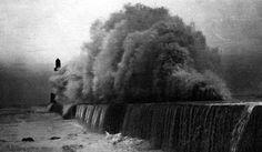 Tour Scotland Photographs: Old Photograph Storm Waves Harbour Aberdeen Scotland