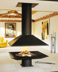 Custom contemporary central fireplace (wood-burning open hearth) Piros