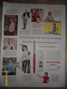 1959  Sheaffer's Skripsert Fountain Pen ad with USA College Students  / 14 x10""