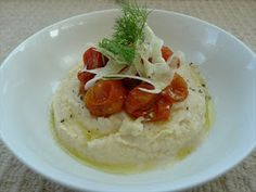 White bean puree with blistered tomato and fennel- still getting evangelical about pulses