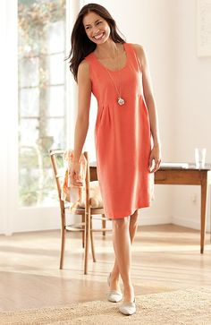 Misses > linen soft-pleat dress at J.Jill