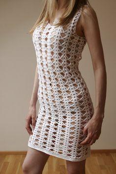 White Crochet Dress Lace Woman Dress Wedding Lace by MARTINELI, $117.00