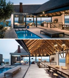 12 Examples Of Modern Houses And Buildings That Have A Thatched Roof // Tightly packed reeds make up the thatched roof of this family holiday home in South Africa, and the reeds can be seen from the inside of the house.