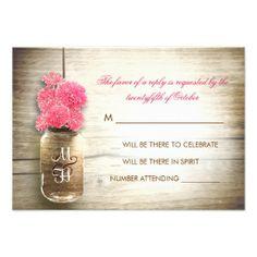 Mason jar & pink flowers wedding RSVP card